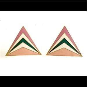 Vintage Triangle Enameled Earrings Vintage